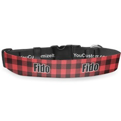 """Lumberjack Plaid Deluxe Dog Collar - Large (13"""" to 21"""") (Personalized)"""