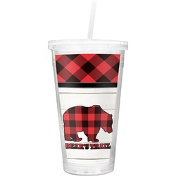 Lumberjack Plaid Double Wall Tumbler with Straw (Personalized)