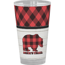 Lumberjack Plaid Drinking / Pint Glass (Personalized)