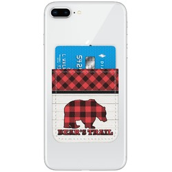 Lumberjack Plaid Genuine Leather Adhesive Phone Wallet (Personalized)