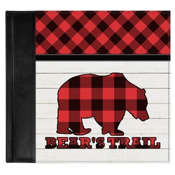 Lumberjack Plaid Genuine Leather Baby Memory Book (Personalized)