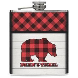Lumberjack Plaid Genuine Leather Flask (Personalized)