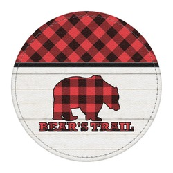 Lumberjack Plaid Round Desk Weight - Genuine Leather  (Personalized)