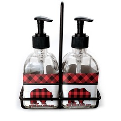 Lumberjack Plaid Soap & Lotion Dispenser Set (Glass) (Personalized)