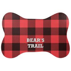 Lumberjack Plaid Bone Shaped Dog Food Mat (Large) (Personalized)