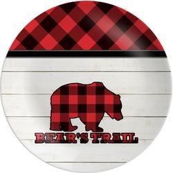 """Lumberjack Plaid Melamine Salad Plate - 8"""" (Personalized)"""