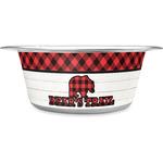Lumberjack Plaid Stainless Steel Dog Bowl (Personalized)