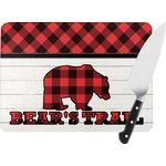 Lumberjack Plaid Rectangular Glass Cutting Board (Personalized)