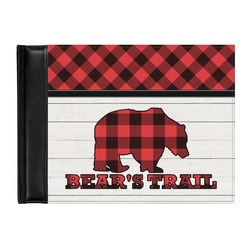 Lumberjack Plaid Genuine Leather Guest Book (Personalized)