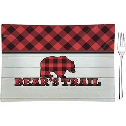Lumberjack Plaid Rectangular Glass Appetizer / Dessert Plate - Single or Set (Personalized)
