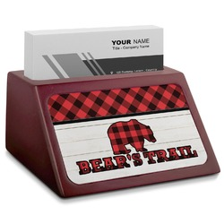 Lumberjack Plaid Red Mahogany Business Card Holder (Personalized)