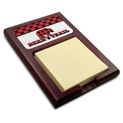Lumberjack Plaid Red Mahogany Sticky Note Holder (Personalized)