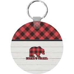 Lumberjack Plaid Round Keychain (Personalized)