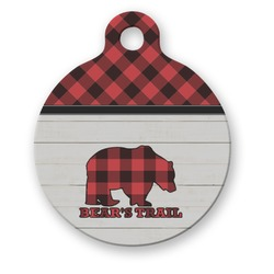 Lumberjack Plaid Round Pet Tag (Personalized)