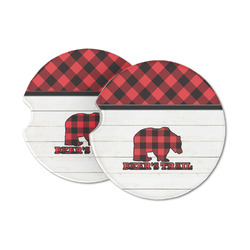 Lumberjack Plaid Sandstone Car Coasters (Personalized)