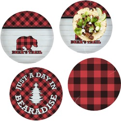"""Lumberjack Plaid Set of 4 Glass Lunch / Dinner Plate 10"""" (Personalized)"""