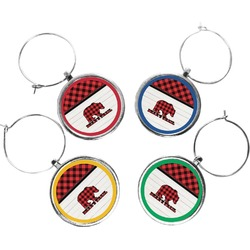 Lumberjack Plaid Wine Charms (Set of 4) (Personalized)