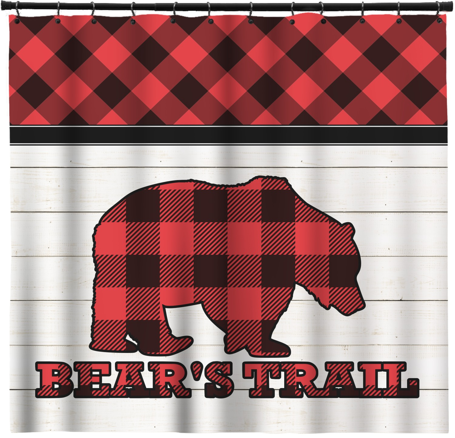 Lumberjack Plaid Shower Curtain Personalized