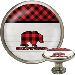 Lumberjack Plaid Cabinet Knob (Silver) (Personalized)