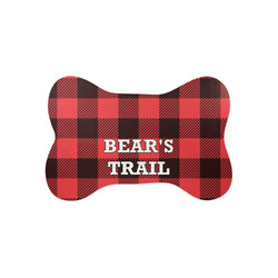 Lumberjack Plaid Bone Shaped Dog Food Mat (Small) (Personalized)