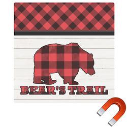 Lumberjack Plaid Square Car Magnet (Personalized)