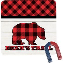 Lumberjack Plaid Square Fridge Magnet (Personalized)