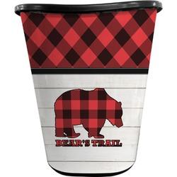 Lumberjack Plaid Waste Basket - Double Sided (Black) (Personalized)