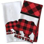 Lumberjack Plaid Waffle Weave Kitchen Towel (Personalized)
