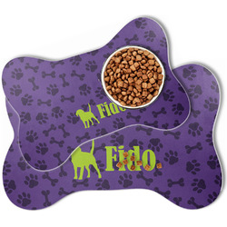 Pawprints & Bones Bone Shaped Dog Food Mat (Personalized)