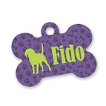 Pawprints & Bones Bone Shaped Dog Tag (Personalized)