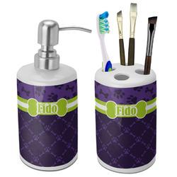 Pawprints & Bones Ceramic Bathroom Accessories Set (Personalized)