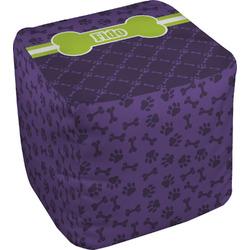 Pawprints & Bones Cube Pouf Ottoman (Personalized)