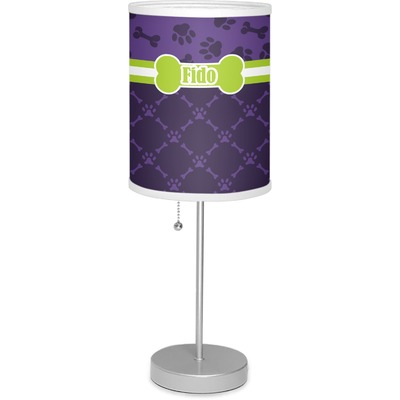 """Pawprints & Bones 7"""" Drum Lamp with Shade (Personalized)"""