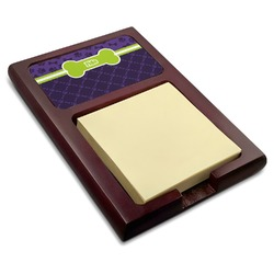 Pawprints & Bones Red Mahogany Sticky Note Holder (Personalized)