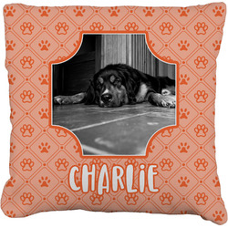 Pet Photo Faux-Linen Throw Pillow (Personalized)