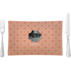 Pet Photo Glass Rectangular Lunch / Dinner Plate - Single or Set (Personalized)