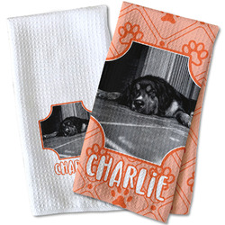 Pet Photo Waffle Weave Kitchen Towel
