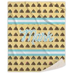 Poop Emoji Sherpa Throw Blanket (Personalized)