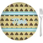 "Poop Emoji Glass Appetizer / Dessert Plates 8"" - Single or Set (Personalized)"