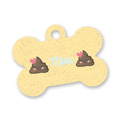 Poop Emoji Bone Shaped Dog ID Tag (Personalized)