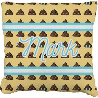 Poop Emoji Faux-Linen Throw Pillow (Personalized)