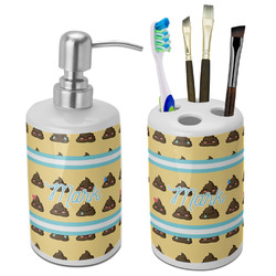 Poop Emoji Bathroom Accessories Set (Ceramic) (Personalized)