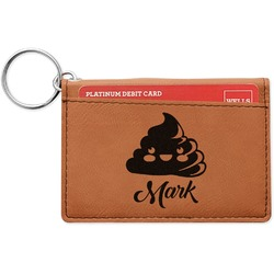 Poop Emoji Leatherette Keychain ID Holder (Personalized)