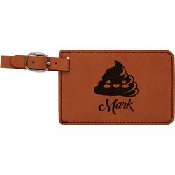 Poop Emoji Leatherette Luggage Tag (Personalized)