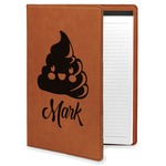 Poop Emoji Leatherette Portfolio with Notepad (Personalized)