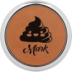 Poop Emoji Leatherette Round Coaster w/ Silver Edge - Single or Set (Personalized)