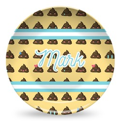 Poop Emoji Microwave Safe Plastic Plate - Composite Polymer (Personalized)