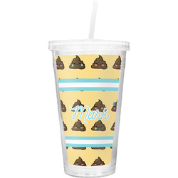 Poop Emoji Double Wall Tumbler with Straw (Personalized)