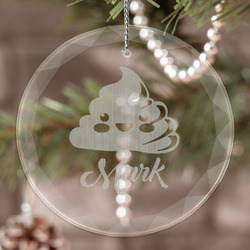 Poop Emoji Engraved Glass Ornament (Personalized)