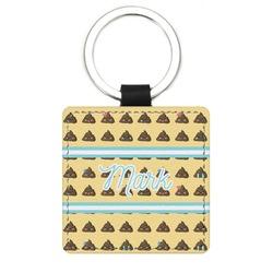 Poop Emoji Genuine Leather Rectangular Keychain (Personalized)